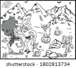 coloring book page for... | Shutterstock .eps vector #1802813734