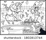 coloring book page for... | Shutterstock .eps vector #1802813764