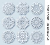 circle lace ornament  round... | Shutterstock . vector #180281537