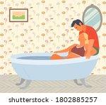 pregnant woman preparing for... | Shutterstock .eps vector #1802885257