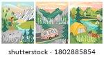 travel posters. vector set of... | Shutterstock .eps vector #1802885854