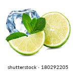 Lime  Mint And Ice Cube Isolated