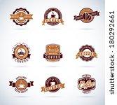 set of modern vector coffee... | Shutterstock .eps vector #180292661