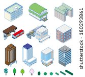 various building   solid figure | Shutterstock .eps vector #180293861