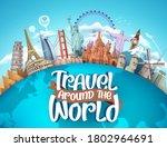 travel around the world vector... | Shutterstock .eps vector #1802964691