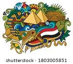 egypt hand drawn cartoon... | Shutterstock .eps vector #1803005851