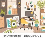 colorful room interior of... | Shutterstock .eps vector #1803034771