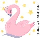 lovely pink swan. the swan...   Shutterstock .eps vector #1803043321