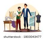 vector tailor measuring client...   Shutterstock .eps vector #1803043477