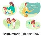 welcome back to school scenes...   Shutterstock .eps vector #1803043507