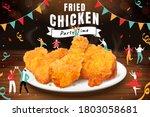 delicious crispy fried chicken... | Shutterstock .eps vector #1803058681