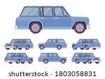 station wagon  estate car blue... | Shutterstock .eps vector #1803058831