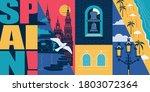 spain vector skyline...   Shutterstock .eps vector #1803072364