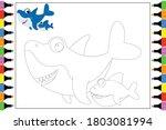 Coloring Animal Shark  Simple...