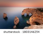 Praia Da Marinha Cove With The...