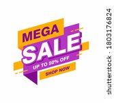 simple flat mega sale banner... | Shutterstock .eps vector #1803176824