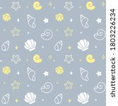 cartoon seashell doodle... | Shutterstock . vector #1803226234