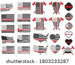 set of firefighters red thin... | Shutterstock .eps vector #1803233287