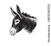 donkey head. hand drawn... | Shutterstock .eps vector #1803240331