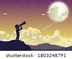 a boy looking to stars in the...   Shutterstock .eps vector #1803248791