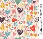 doodle romantic seamless... | Shutterstock .eps vector #180328109