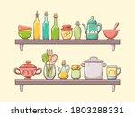 kitchen supplies on shelves.... | Shutterstock .eps vector #1803288331