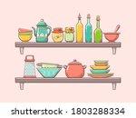kitchen supplies on shelves.... | Shutterstock .eps vector #1803288334