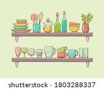 kitchen supplies on shelves.... | Shutterstock .eps vector #1803288337