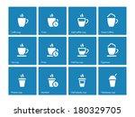tea mug icons on blue...