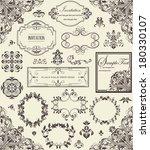 vector set of floral vintage... | Shutterstock .eps vector #180330107