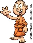 happy child cartoon buddhist... | Shutterstock .eps vector #1803308437