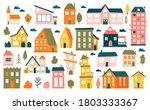 cute tiny houses. cartoon small ... | Shutterstock .eps vector #1803333367