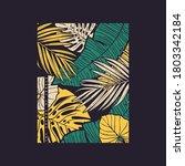 vector hand drawn tropical...   Shutterstock .eps vector #1803342184