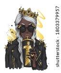 african girl wearing a crown ...   Shutterstock .eps vector #1803379957