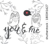 cute card with owls and floral... | Shutterstock .eps vector #180341627