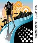 vector sexy long hair woman ... | Shutterstock .eps vector #18034195