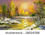 autumn landscape on the bank of ... | Shutterstock . vector #18034288