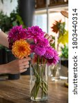 A Woman Arranging Dahlias In A...