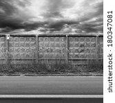 dark urban road with concrete... | Shutterstock . vector #180347081