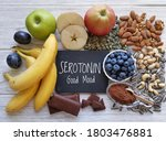Small photo of Serotonin-boosting foods. Assortment of food for good mood, happiness, better memory, and positive mind. Healthful foods that may help boost serotonin. Natural sources of serotonin, healthy diet.