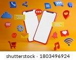 social media concept. cartoon... | Shutterstock . vector #1803496924
