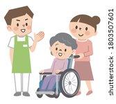 wheelchair senior woman and... | Shutterstock .eps vector #1803507601