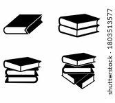 book stack vector set  black...
