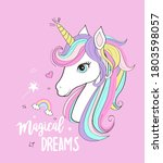 magical dream and unicorn... | Shutterstock .eps vector #1803598057