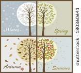trees in seasons  winter ... | Shutterstock .eps vector #180360641