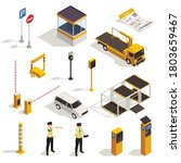 parking isometric set with... | Shutterstock .eps vector #1803659467