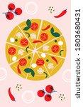 pizza vector illustration.... | Shutterstock .eps vector #1803680431