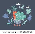 shopping cart full with fresh... | Shutterstock .eps vector #1803703231