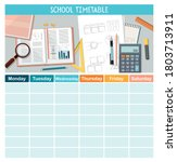 school timetable template with... | Shutterstock .eps vector #1803713911