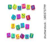 "words ""summer""  ""june""  ""july""  ... | Shutterstock .eps vector #180373799"
